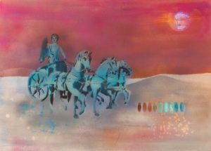 """Quadriga"" (rosé, Schnitte und Farbpalette) 70 x 50 cm"